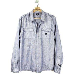 DC Button Up Long Sleeve Shirt M